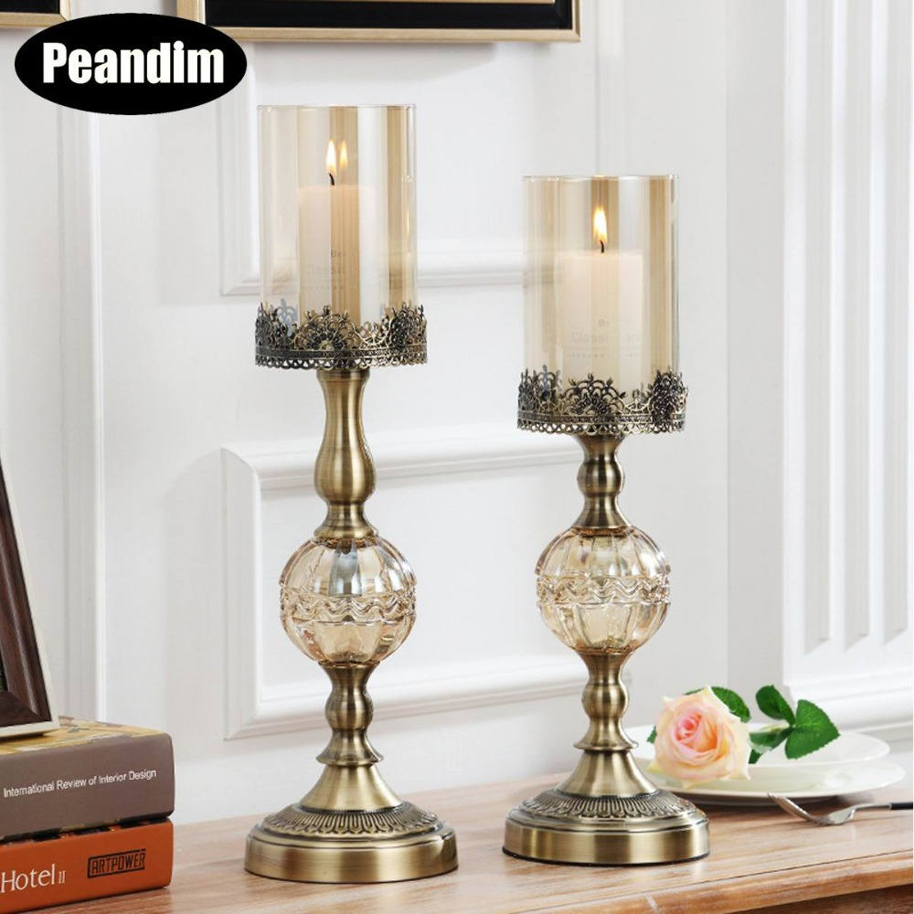 New 2pcs metal gold plated candle holder with crystals wedding ...
