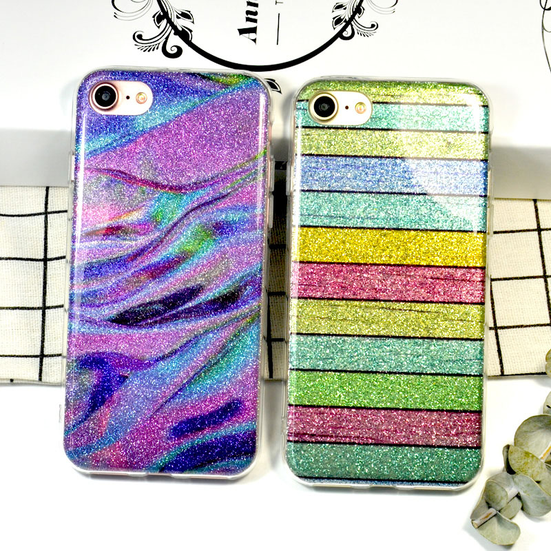 Glitter Rainbow Silicone Phone Cases For iPhone 7 plus case Bling Bling Luxury Soft TPU Back Shiny Case For iphone 6 6s Fundas(China (Mainland))