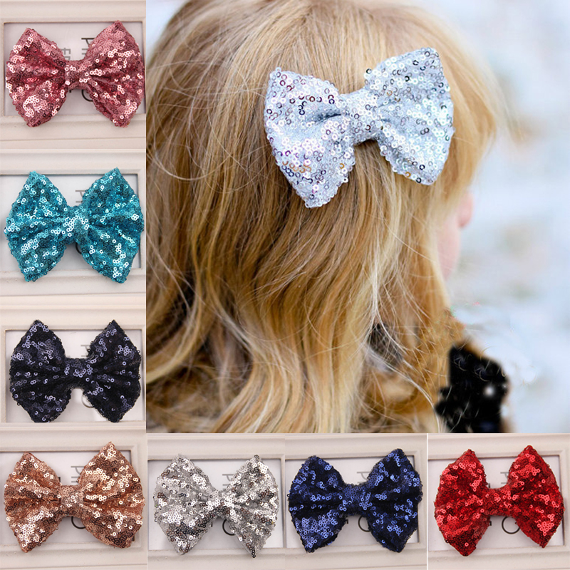Girl Baby Kids Hairpin Sequin Bowknot Hair Clip shiny Toddlers Headwear Hair Accessories for girls Barrettes prendedor de cabelo<br><br>Aliexpress
