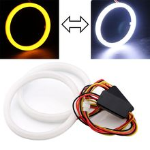 2Pairs (4pcs) 95MM White Yellow Angel Eyes Halo Ring 4014 Chip 132 SMD LED 12V Car DRL Daytime Running Lights Signal Lamps(China)