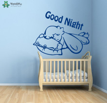 Sleeping Baby Wall Decal Quotes Good Night Removable Vinyl Wall Stickers For Kids Room Nursery Bed Child Home Decor DIY ArtSY343(China)