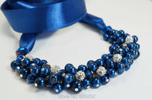 Pearl Royal Blue Cluster Necklace with Crystals and Rhinestones,Bridal Jewelry,Chunky Pearl Necklace MN046(China)