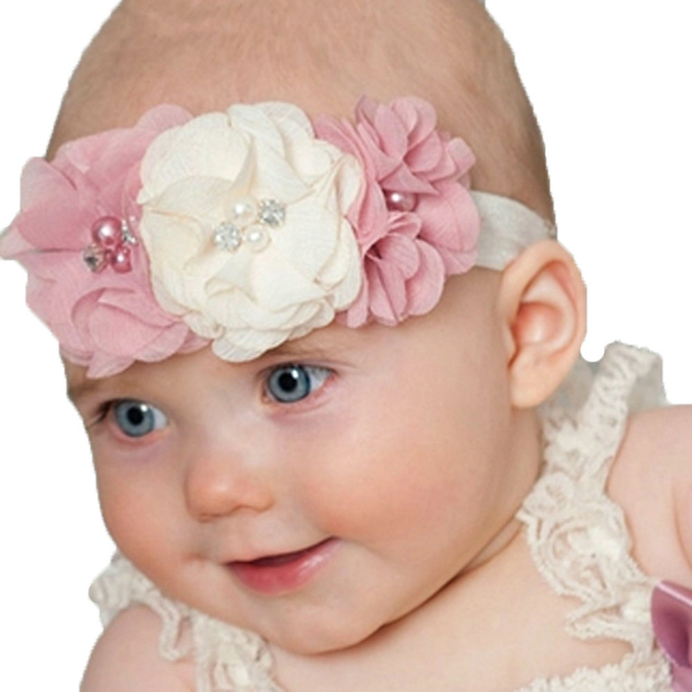 6 colors Baby Girls  Elastic Hair Band Chiffon Pearl Flowers With Rhinestone Princess bows Headband colorful hair wear 1pc HB198<br><br>Aliexpress