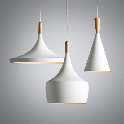 ABC 3pcs/lot White Wood Aluminum Musical Instrument Beat Pendant Light Fixture Modern Nordic Hanging Lamp Luminaria Dining Room<br>