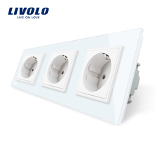 Livolo New EU Standard Power Socket, White Crystal Glass Outlet Panel, Multi-function Triple Wall Power Outlet Without Plug(China)