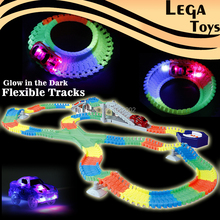 Create A Road Flashing Flexible Glow race track Bend Flash in the Dark Flashing 5 LED Lights Assembly Educational Toys for Kids(China)
