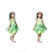 Kids girls children Novelties Green Sprite Spring fairy dress Tinkerbell cosplay Costumes Carnival Party Fantasia Fancy Dresses