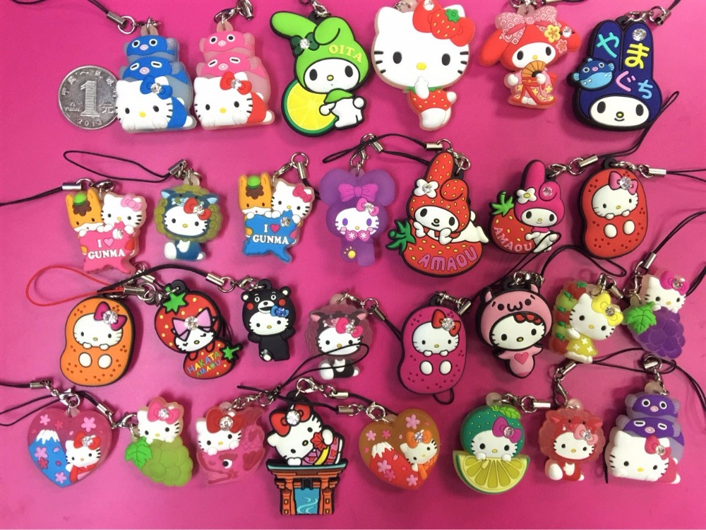 G542 29pcslot Hello Kitty Melody Original Japanese anime figure rubber Silicone sweet smell mobile phone charms keychain strap