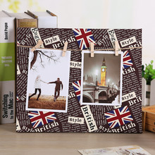 2017 Wholesale Paper Photo DIY Cloth Wall Art Picture Hanging Album Frame With Rope Clips PhotoFrame Porta Retrato Photo Frames(China)