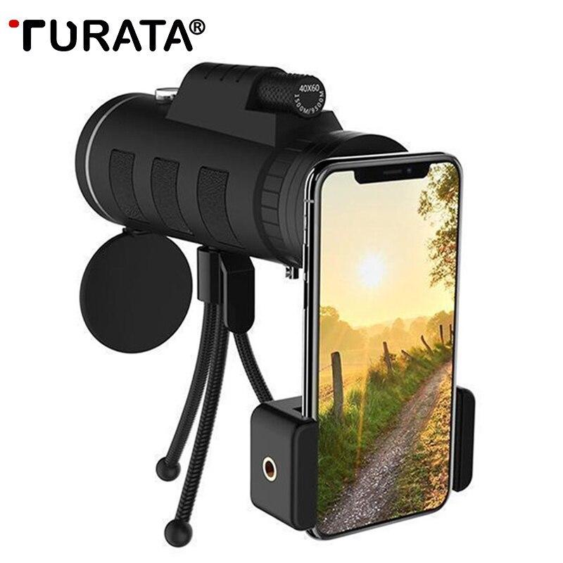 Mini telescopio Monocular lentes de teléfono móvil Universal HD 40X60 enfoque único