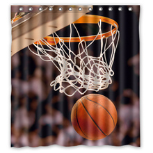 Basketball and Basket Custom Made Design Curtains Bathroom Bath Waterproof Shower Curtain Size 48x72,60x72,66x72 inches