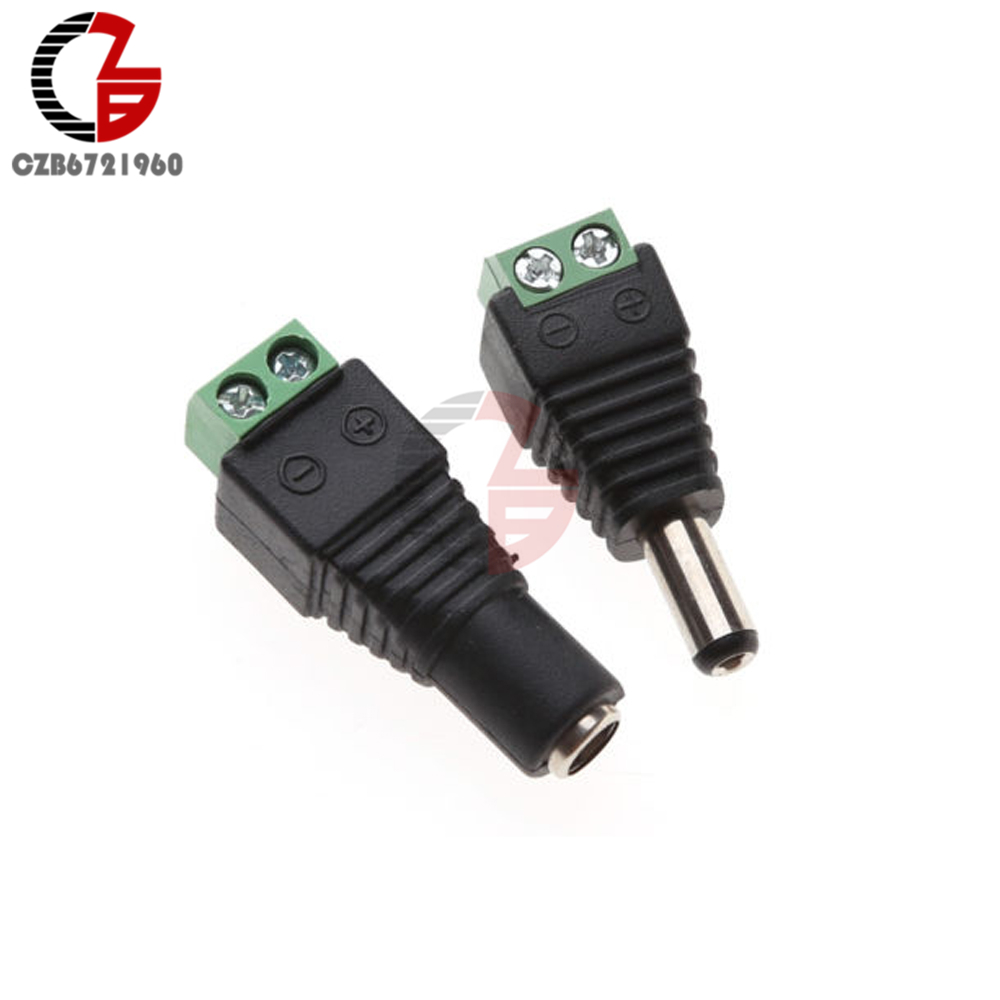 5pcs Male DC Jack 5.5 x 2.1mm 12V Power Plug Adaptor Connector CCTV LED Arduino