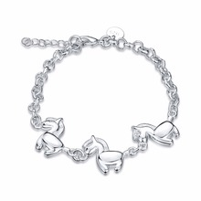 INALIS silver plated Bracelets Silver Bracelet Animal Horse Bracelet Fashion Jewelry For Women Cute Jewellery Bijoux(China)