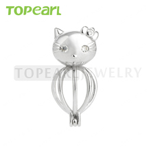 SWP52 Topearl Jewelry 5pcs/LOT 925 Sterling Silver Lovely Cat Cage Love Wish Pearl Pendant