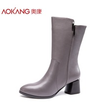 AOKANG 2017 Winter New Arrival Mid-Calf Women winter boots Genuine leather Boots shoes woman platform boots(China)