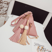Cheap Faishon Small Purse Fringe Bag Ladies Wallet Triangle Women's Clutches Casual Leather Handbags Sac a Main Femme De Marque(China)
