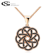 2017 GS New Long Necklace Charms Classical Pattern Design Round Pandent Jewelry Rose Gold Chains TOP Quality Gift for Women(China)
