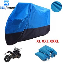 Mofaner 180T Universal Motorcycle Cover Waterproof Black and Blue Quad ATV Vehicle Scooter Motorbike Covers
