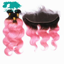 Buy Allrun Hair Pre-Colored T1B/Pink 3 Bundles Remy Human Hair Body Wave Lace Frontal Baby Hair 13*4 Brazilian Hair Weave for $205.39 in AliExpress store