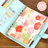 A5A6 Flower Colored Delicate Art Paper Diario Planner' Index Page Beauty Retro Planner's Inner Slip Sheet Binder Category Paper