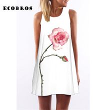 Buy ECOBROS 2017 Woman Summer Dress casual sleeveless Loose flowers print knee dresses plus size woman clothing dress for $6.99 in AliExpress store