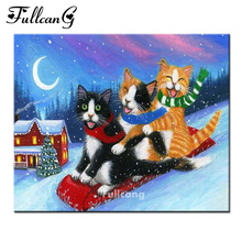 FULLCANG diy 5d mosaic needlework full diamond embroidery cartoon cat ski diamond painting cross stitch square diamonds E1019