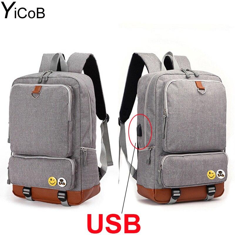 YiCoB Men Women Multifunction Business Backpack USB Charging Port Large Capacity Oxford Travel Laptop School Bags Rucksack Lady<br>