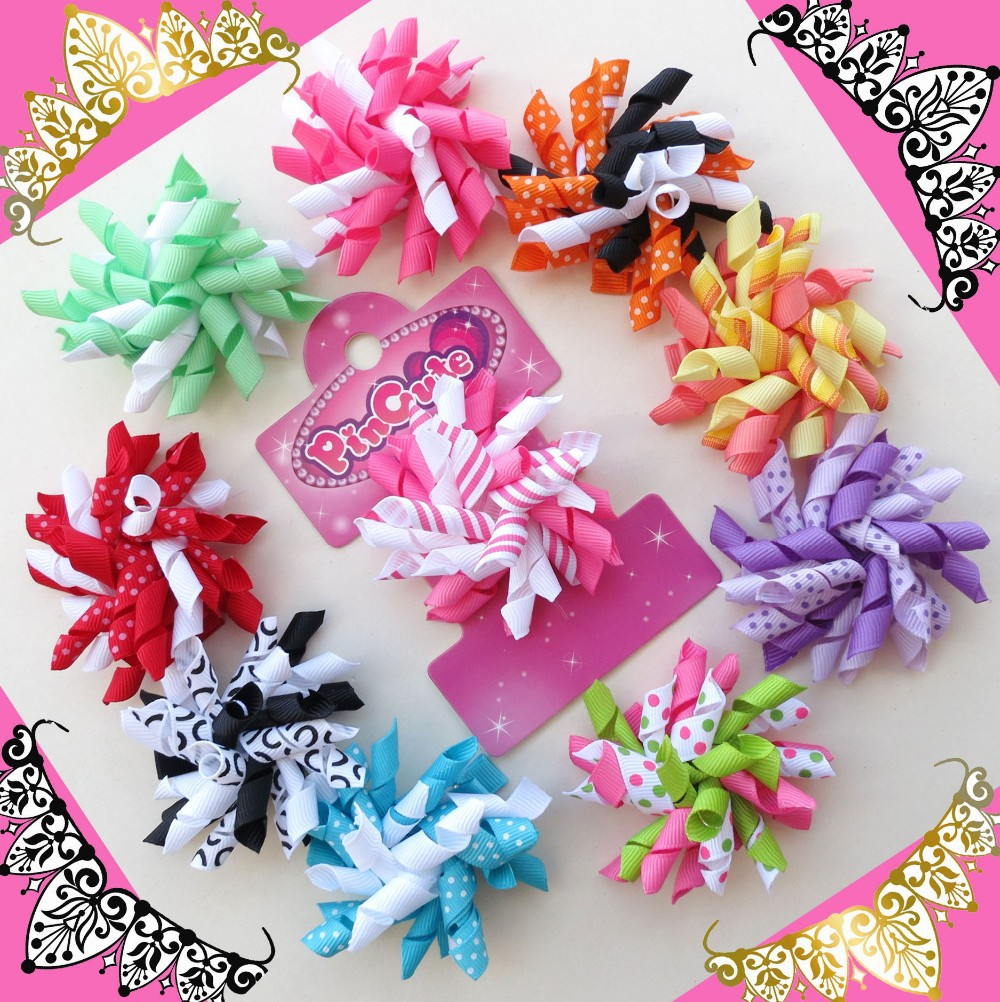 Hand 32pcs 2.5 Inch Corker /korker Hair Bow ClipBLESSING Girl Hair Accessories Baby Rolls of ribbon attached on alligator clip<br><br>Aliexpress