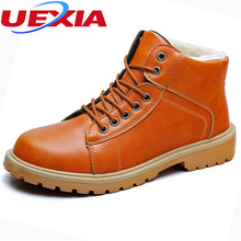 UEXIA Winter PU Leather Ankle Boots Men Warm Casual Shoes High Quality Working Martin Fashion Fur Snow Leisure Handmade Plush