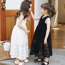 Girls Lace Long Dresses O-Neck Lacy Collar Sleeveless Princess Dresses Crochet Solid Color  Children Frocks robe princesse T94