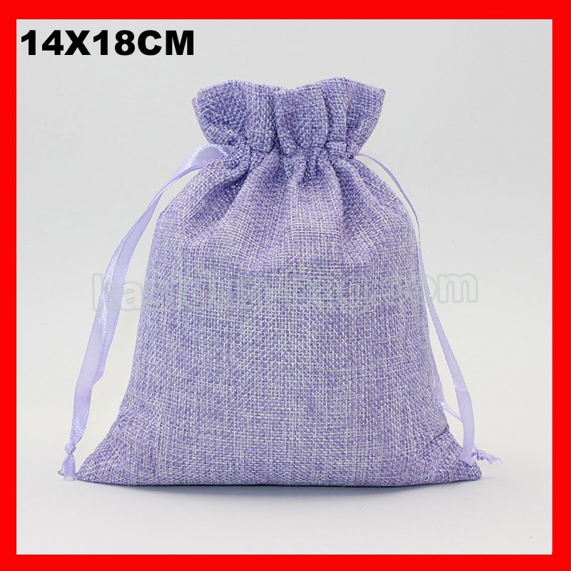 unidslote tamao x cm purole color de lino con cordn de yute bolsa