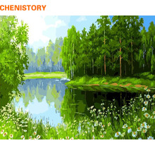 CHENISTORY Frameless Picture DIY Painting By Numbers Green Lake Landscape Modern Wall Art Picture Handpainted On Canvas For Gift