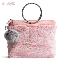 Women Tote Bags Lady Best Selling Brand Handbag Girl Velour+PU Fashion Pendant Pink Plush Satchels Shoulder Messenger Bag SAJOSE(China)
