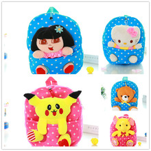 Boy Girl Pikachu Backpacks/Children 3D Dora Shoulder Bags/Kindergarten Cartoon Plush Doll School Bags/Kid Soft Travel Mochila