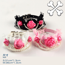 Dog Collars Pink Black Senior Flower with Pearl Pet Collar For Small Animals Puppies BB009 Chihuahua Yorkshire Fashion Goods