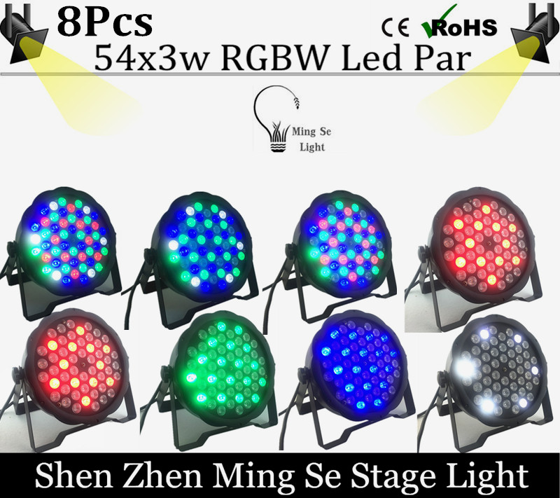 8units/lots  54X3W RGBW LED Par Light LED PAR DMX512 controller led lights, disco lights DJ equipment<br>