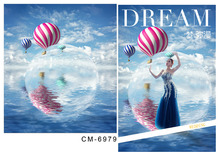 Customize vinyl cloth print blue sky balloon photo studio backgrounds for children drama stage photography backdrops CM-6979(China)