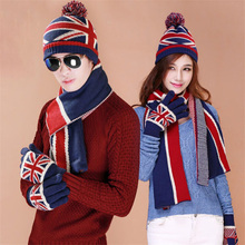 Christmas Gift USA UK Flag Design Knit Hat Scarf Gloves Sets Women Men Thick Wool Lining Winter 3 pcs  Warm Set