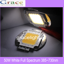 50W High power LED chip Aquarium lamp 380Nm- 780Nm  Full Spectrum White Aquatic Plant Grow Blub Sea Grass Water Coral