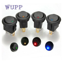 Car-styling 4 Colors 16A 12V LED Dot Light Round SPST ON/OFF Rocker Switches For Car Accessories  interruptor 12v