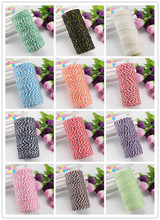 100m/roll 1.5mm Many Colors Cotton Bakers Twine Stripe Line for Wedding Party Favour Gift Craft Package Supplies 047005043(China)