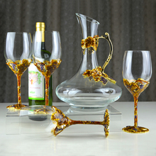 Robbie Luo Dan crystal glass red wine goblet decanter wine set Golden Harvest enamel ornaments