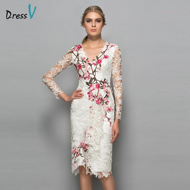 68fd282275f Buy Dressv V neck long sleeves cocktail dress sheath appliques lace knee  length flowers elegant cocktail dress formal party dress Online