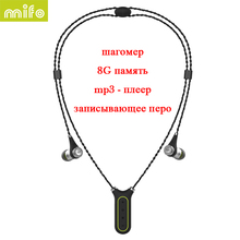 mifo i2 Necklace Wireless Bluetooth Earphone Recording Pen 8G Flash Mp3 Player Sport Headset HiFi Music In-ear Earphones Stereo(China)