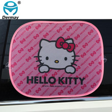 2PCS HELLO KITTY Car Windshield Car Sun Shade Cute Cartoon Car Styling Rear Side Window Sunshade Protect Window Film 44cm*36cm(China)