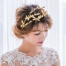 Vintage Wedding Dragonfly Bridal Headband Tiara Crown Gold Color Hair Accessories Jewelry Golden Hairband Women Headpiece(China)