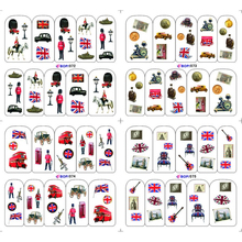 4 PACKS / LOT BRITISH FLAG SOLDIER POP GUITAR NAIL TATTOOS STICKER WATER DECAL NAIL ART BOP072-075