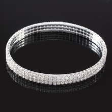 3-Row Three Row Crystal Rhinestone Tennis Ankle Chain Bracelet Jewelry Women Bridal Wedding Accessories