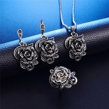 Antique Silver Color Jewelry Set Fashion Black Crystal Cover Flower Shape Necklace Earring Ring Set Elegant Women Custom Jewelry