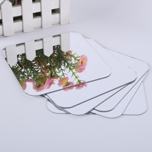 6 Pcs Square Mirror Tile Obtuse Angle Wall Stickers 3 D Decal Mosaic Home Room Decoration DIY For Living Room Porch Gift(China)